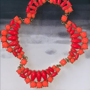 JCrew Coral & Pink Gold Statement Necklace